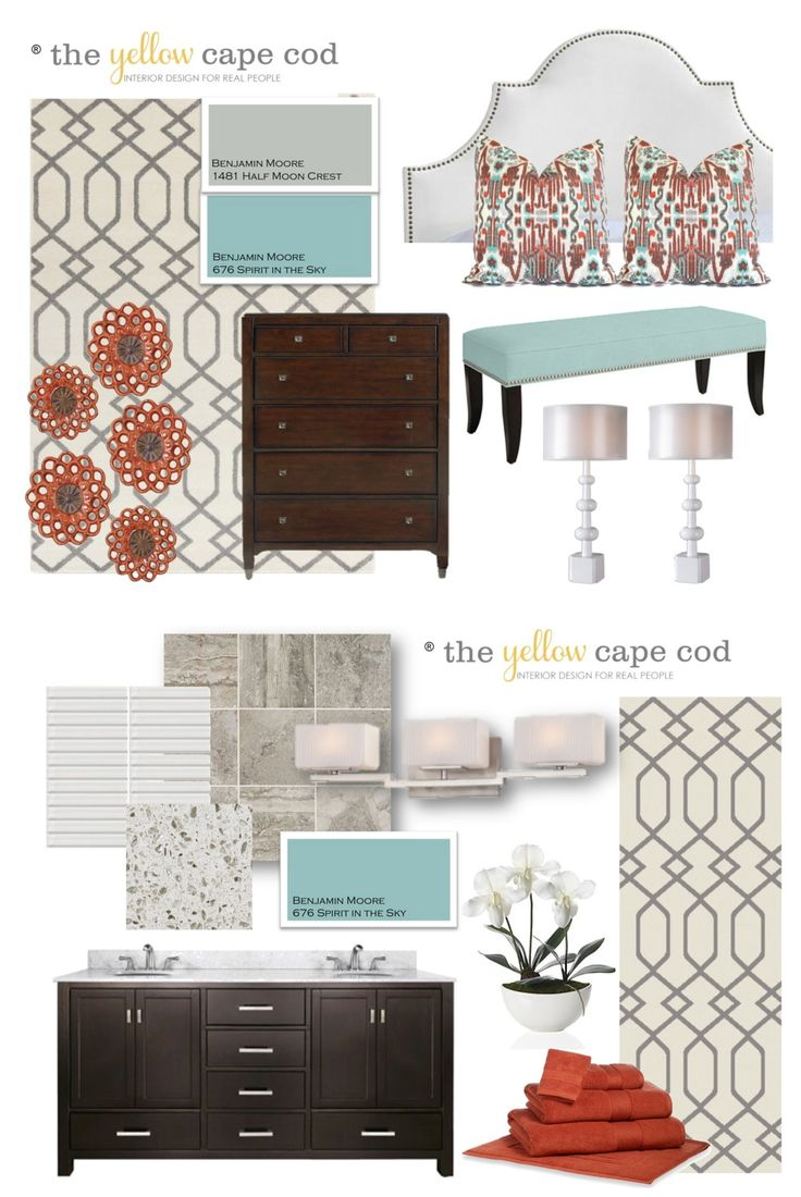 The Yellow Cape Cod: Orange, Turquoise and Gray Master Suite