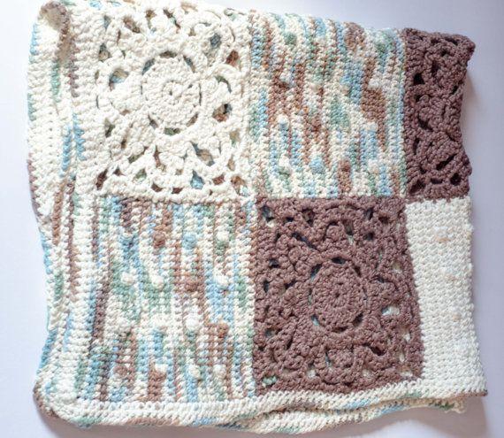 Granny Square Baby Boy Blanket by LovelyBabycrochet on Etsy, $60.00