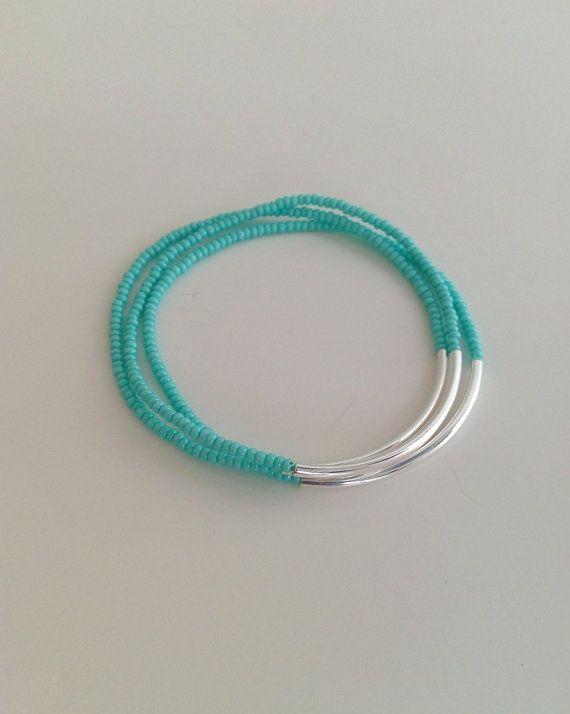 Turquoise bracelets, aqua bracelets, strechy bracelets, blue bracelets, glass seed bead bracelet, silver bracelet, minimalist