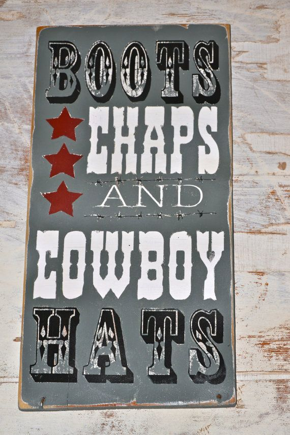boots chaps and cowboy hats, wood sign, barn wood, baby boy, cowboys, nursery, baby shower gifts, cowboy decor, rustic wood signs, rodeo on Etsy, $30.00