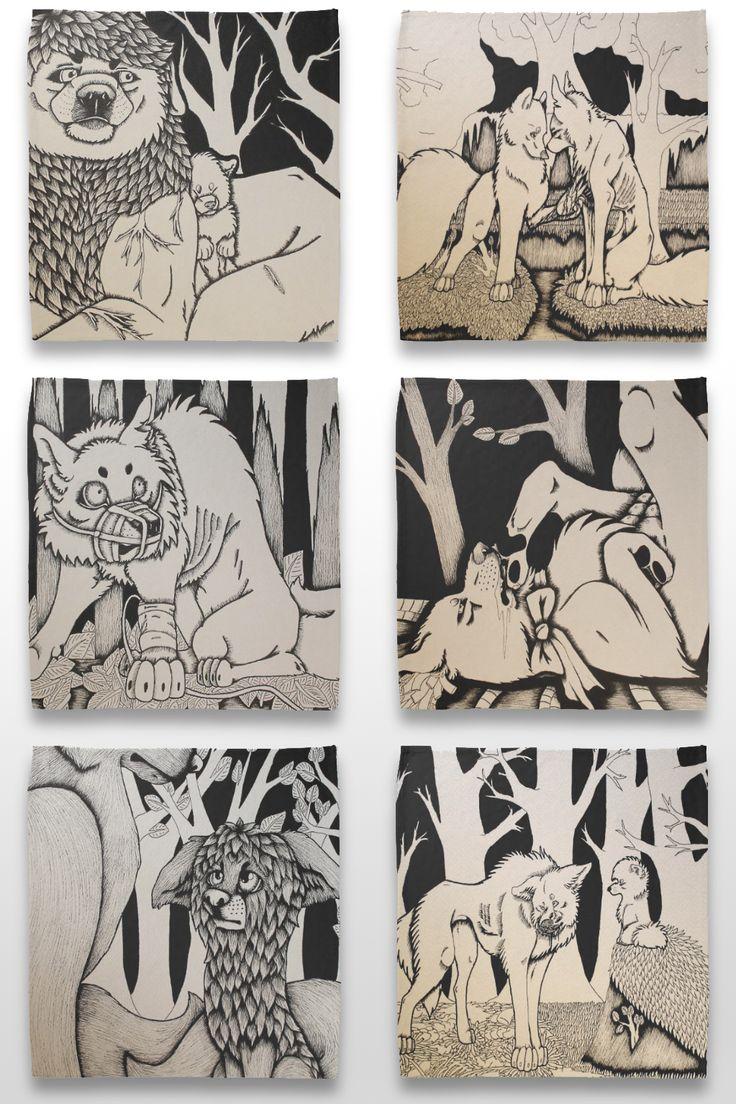 Black and white wolf and dog illustration bandannas