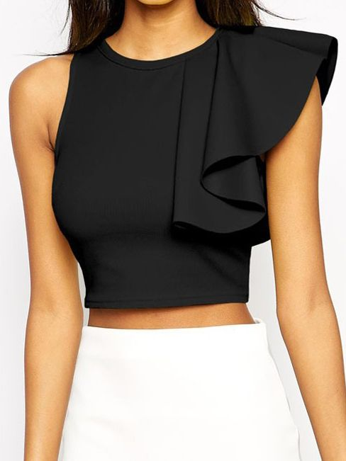 Black Round Neck Ruffle Crop Tank Top -SheIn(abaday)
