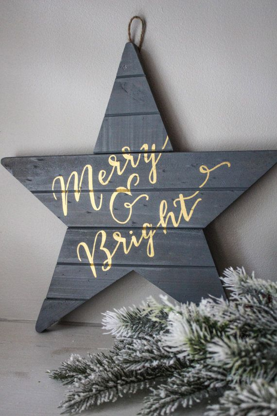 The holiday season is right around the corner and this little sign is sure to make your home merry and bright. The wooden pallet, shaped like a star, is finished with a weathered gray stain and hand-lettered with metallic gold paint that shines!  --------------------------------  *Note: This sign can also be customized with words/quote of your choosing! Include in the notes to seller the quote/words that you would like to be lettered on the sign, as well as any other customization…