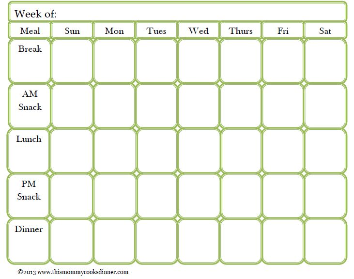 Printable Menu Planning Template