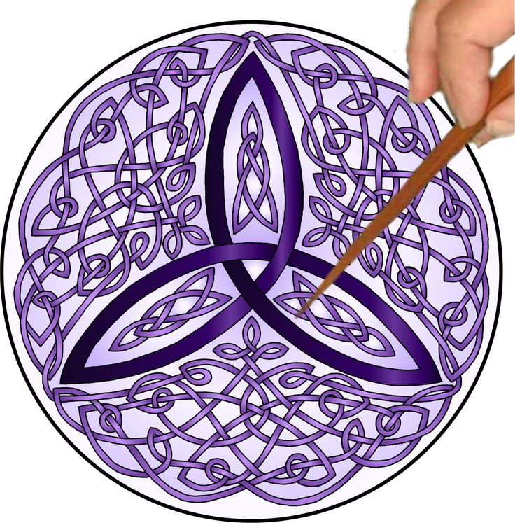 """The Purple Celtic Trinity Knot is an OPEN Mandalynth design that has a lulling,           side-to-side feel when traced. It is created from several woven pathways.           The purple color creates a meditative look. RHYTHMIC COUNTING When tracing this design, mentally count, """"And One, And Two, And Three.""""      Keep the count easy and flowing. Do not speed up. Tracing the Mandalynth will sync with the counting to create a focused, gentle cadence."""