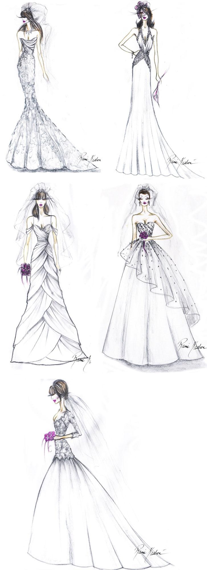 Rami Kashou's bridal sketches for bebe.