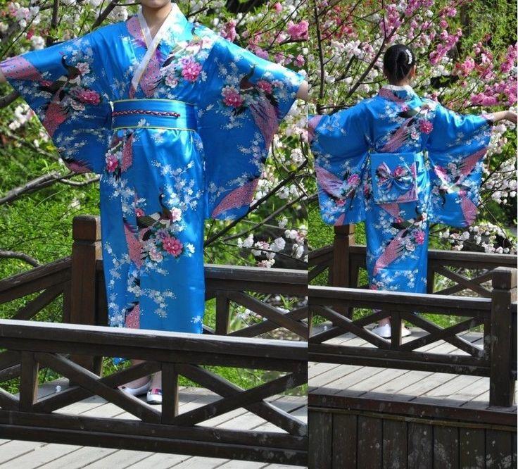 Vintage Yukata Gown Japanese Kimono Costume Floral Robe Haori Dress with Obi