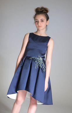 Zoe ltd, special occasion, bar mitzvah, bat mitzvah, tween, party, modest, bridal, flower girl, hi-lo hem, crystal trim, Navy