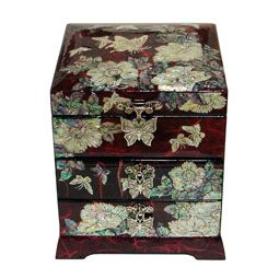 Mother of Pearl Wooden Jewelry Box Inlaid with Butterfly Flower