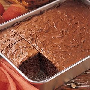 Classic Chocolate CakeIngredients 	2/3 cup butter, softened  	1-2/3 cups sugar  	3 eggs  	2 cups all-purpose flour  	2/3 cup baking cocoa  	1-1/4 teaspoons baking soda  	1 teaspoon salt  	1-1/3 cups milk  	Confectioners' sugar or favorite frosting