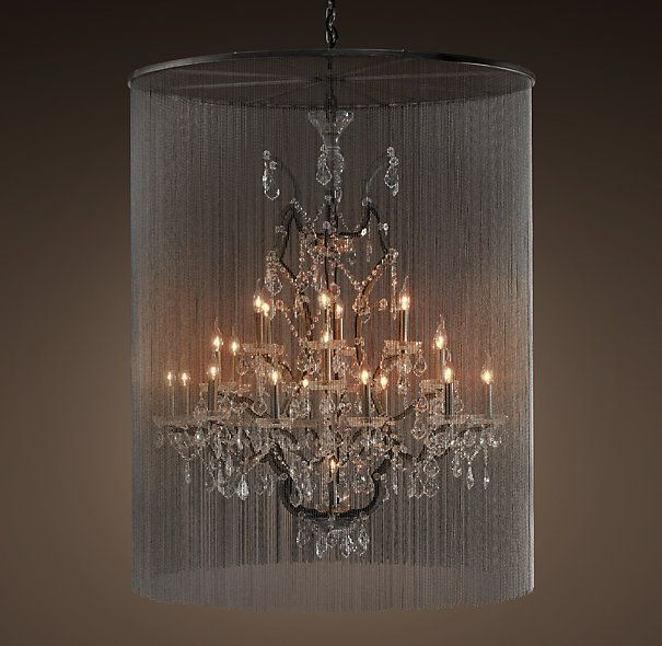 Rh S Vaille Crystal Chandelier Shimmering Veil Of Ball Chain Adds An Touch To The Victorian Design Our Ont Glass And Iron Lighting