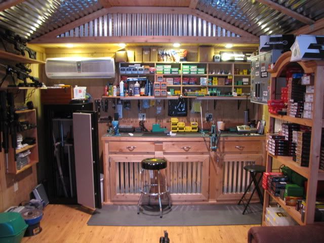 Gun Room with Reloading Bench...I would like my reloading room to look like this someday.