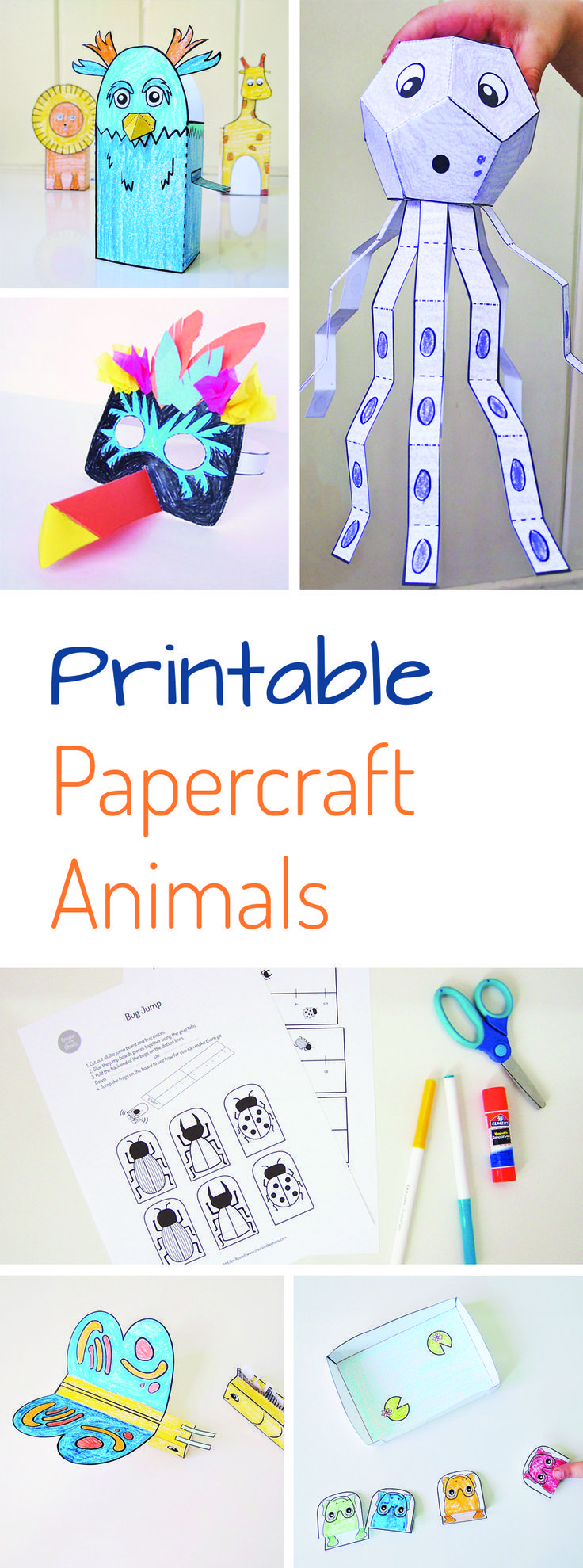 Such fun papercrafts for kids! Get out the scissors and glue and get ready for some quick, mess-free crafting fun with your kiddos. This 16 page PDF includes 3D printable animal papercrafts, printable masks, printable games, and more!