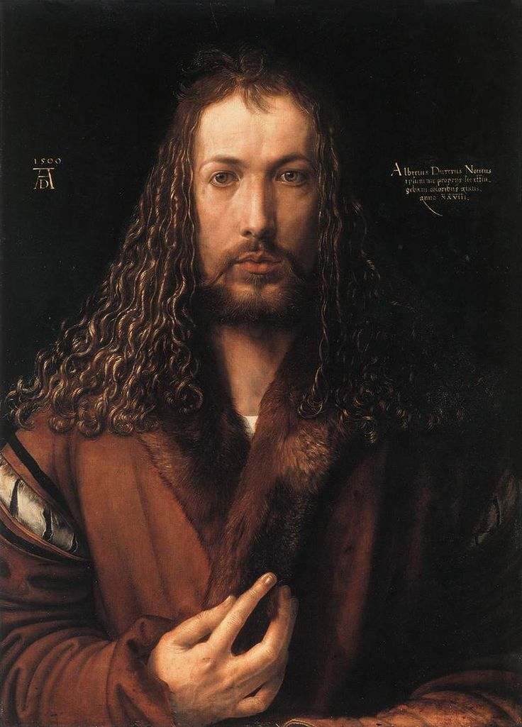Albrecht Dürer's Self-Portrait at Age 28 depicts the German Renaissance artist at life-size proportions, meeting the viewer with an eye-level gaze. Given that most portraits at the time were captured at an angle, Dürer's fully frontal posture - set against a plain black background rather than a finely furnished interior - is unusually arresting. For more on Dürer, visit us at community.artauthority.net.