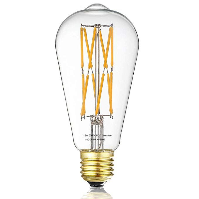Vintage Led Edison Bulb 12w Filament Light Bulb 100w Incandescent Equivalent St64 1200 Lumen 2700k War Filament Bulb Lighting Antique Lamps Edison Light Bulbs