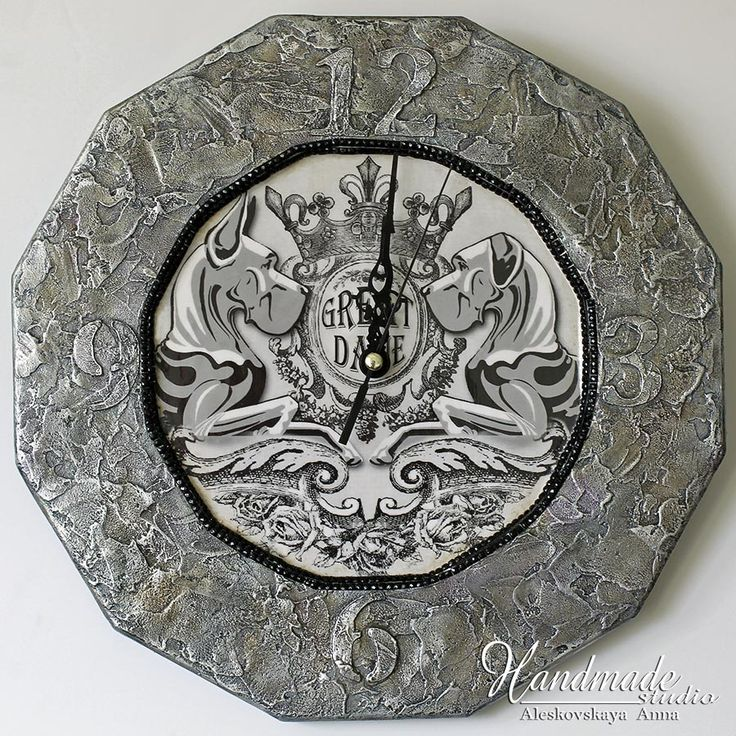 Great Dane. Handwork. Wall Clock.