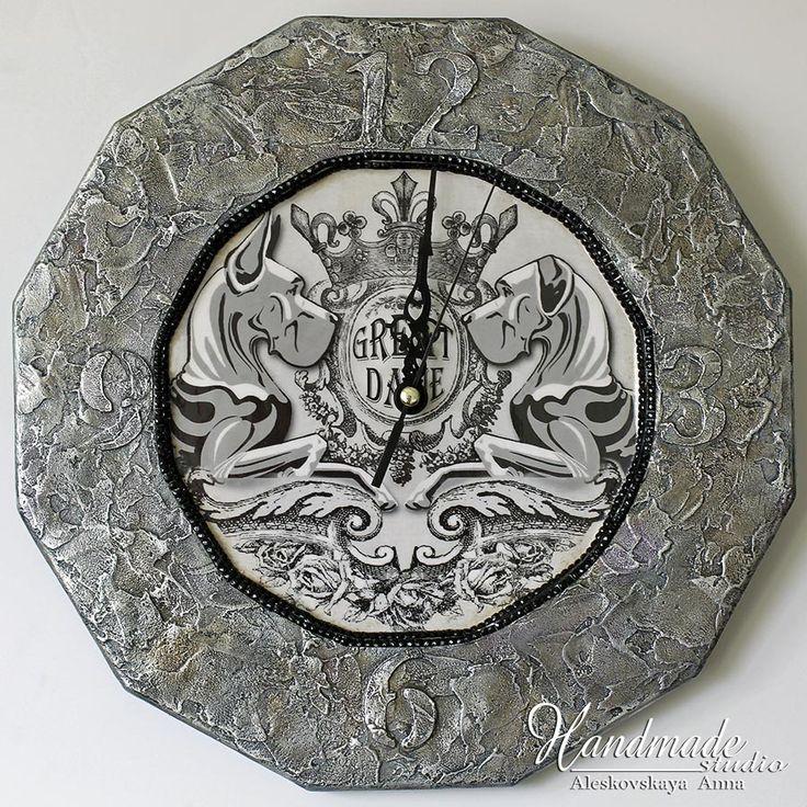 Great Dane. Handwork. Wall Clock.