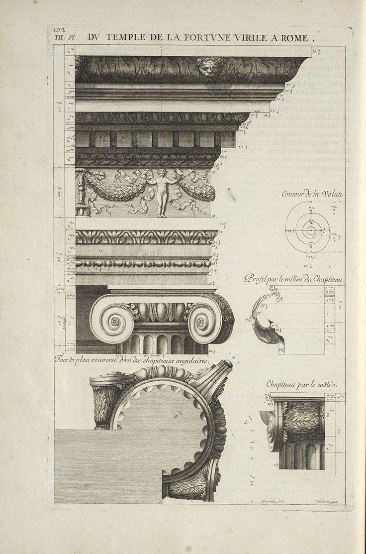 Antoine Desgodets: Les edifices antiques de Rome : dessinés et mesurés très exactement (1682) Chapitre VI: du Temple de la Fortune Virile, à Rome,   pp. 96-104