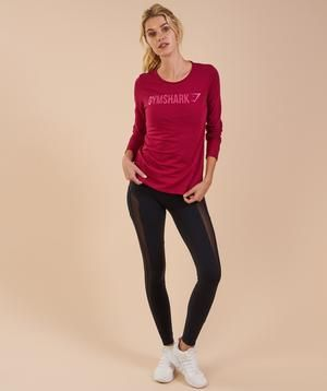 Gymshark Apollo Long Sleeve T-Shirt - Beet  Small