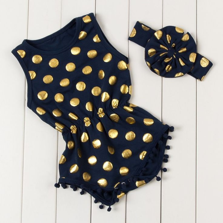 5b2aa91875b Adorable romper with gold dots and matching headband! Cotton polyester  material Pom poms around legs