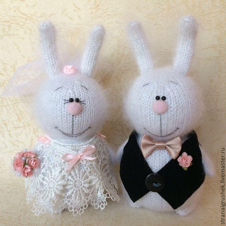 Зайки свадебные. - белый,зайцы,зайка,заяц,вязаные зайцы,вязаная игрушка