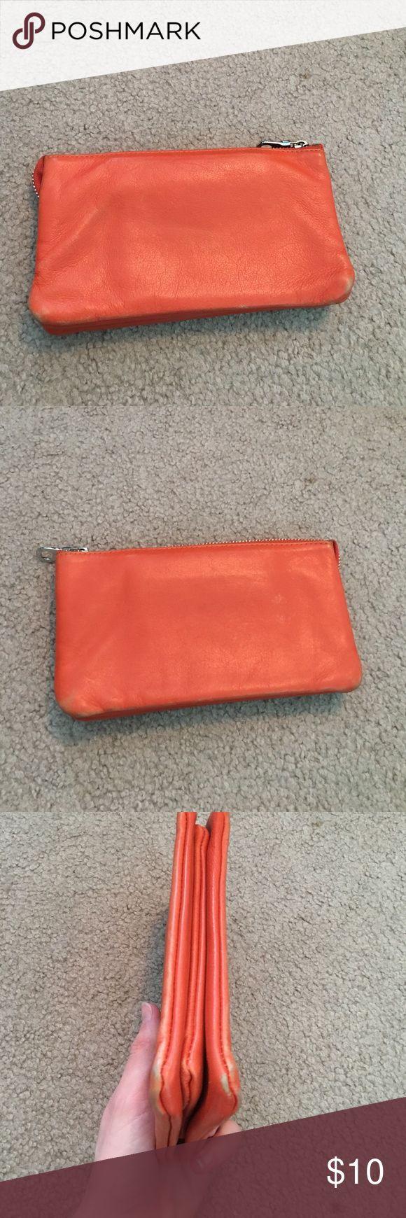 Orange Clutch Orange leather clutch Christopher.kon. Shows wear on leather exterior and canvas interior as pictures. christopher.kon Bags Clutches & Wristlets