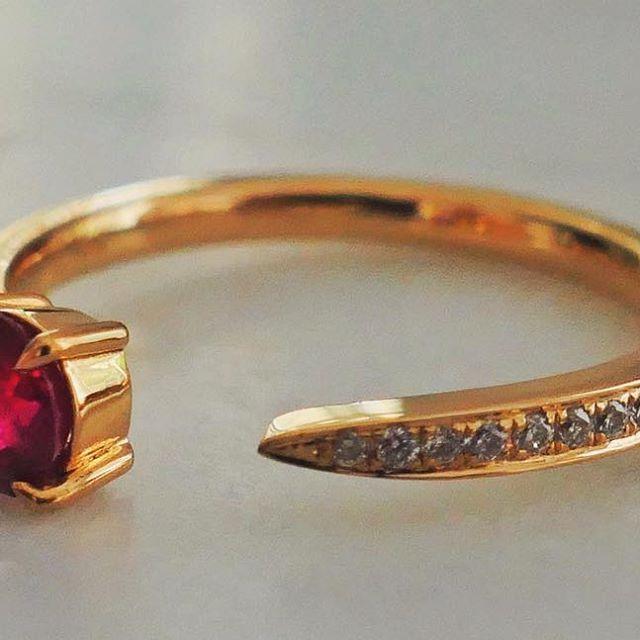 18-karat gold with a beautiful red ruby surrounded by petite white diamonds  #NANGI #beNANGI #finejewelry #jewelry #ruby #diamonds #bella #gold