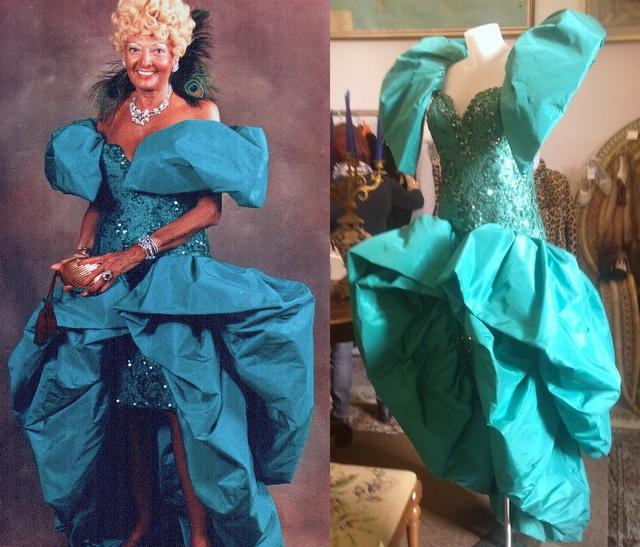 Anna Rontani wearing her emerald silk dress by Loris Azzaro Paris, 80s