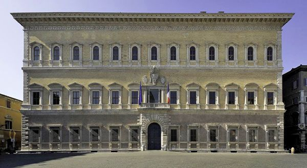 The Palazzo Farnese, one of grandest Renaissance palaces in Rome, was started by Paul III in 1517, when he was first appointed Cardinal, with designs by Sangallo the Younger.  After becoming pope in 1534, it was greatly extended with the help of famous architects like Michelangelo, Vignola, and della Porta.  It once housed the famous Farnese Collection, which is now mostly in Naples.  Today, the palace is the home of the French Embassy.