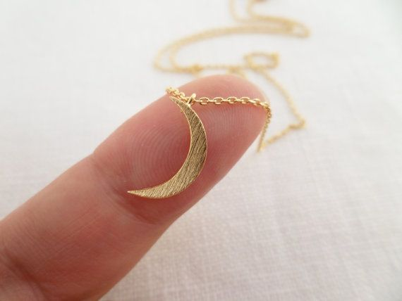 Tiny Gold Crescent moon necklace.... dainty by TiffanyAvenueBridal