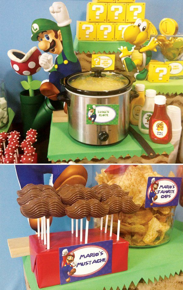 Super Mario Bros Party Ideas with a creative food table with Toad's Tostitos, Coins, Fire and Ice, Pirhana Plants, Star Cookies, koopa troopas, bowser fire!