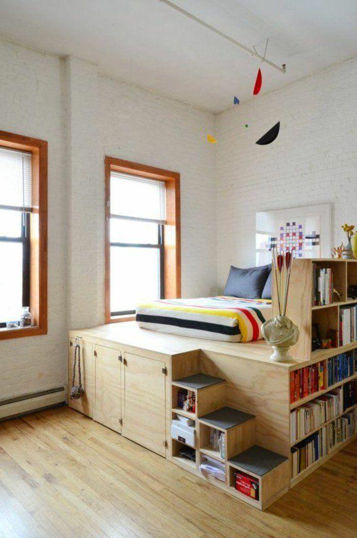 17 meilleures id es propos de lits plateforme sur for Amenager une chambre avec 2 lits