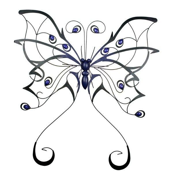 Met Deze Blauw Zwarte Vlinder Van Metaal Heb Je Echt Iets Unieks Aan De Muur Door De Gekleurde Steentjes En Zijn Afmetingen Val Metaal Wanddecoraties Vlinders