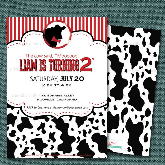 PRINTABLE Cow Print black, white, and red bowtie cow Birthday Party 5x7 invitation, front and back template design