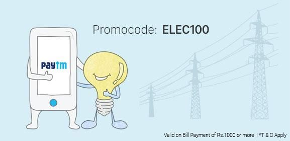 Get Rs.100 Cashback On Electricity Bill Payment Of Rs.1000 Or more http://goosedeals.com/home/details/paytm/115828.html