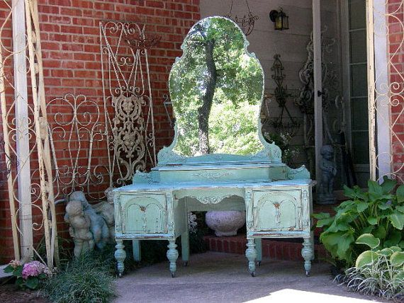 CUSTOM PAINTED VANITY Your Way! Order Today Antique Vanity The Shabby Chic Furniture Painted Vanity Shabby Vanity - Layaway Avail on Etsy, $1,475.00