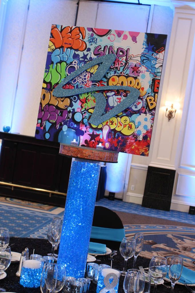 NYC Graffiti Centerpiece Blowup Graffiti Centerpiece with Glittered Initial on Vase with LED's & Gems for NYC Graffiti Themed Bar Mitzvah