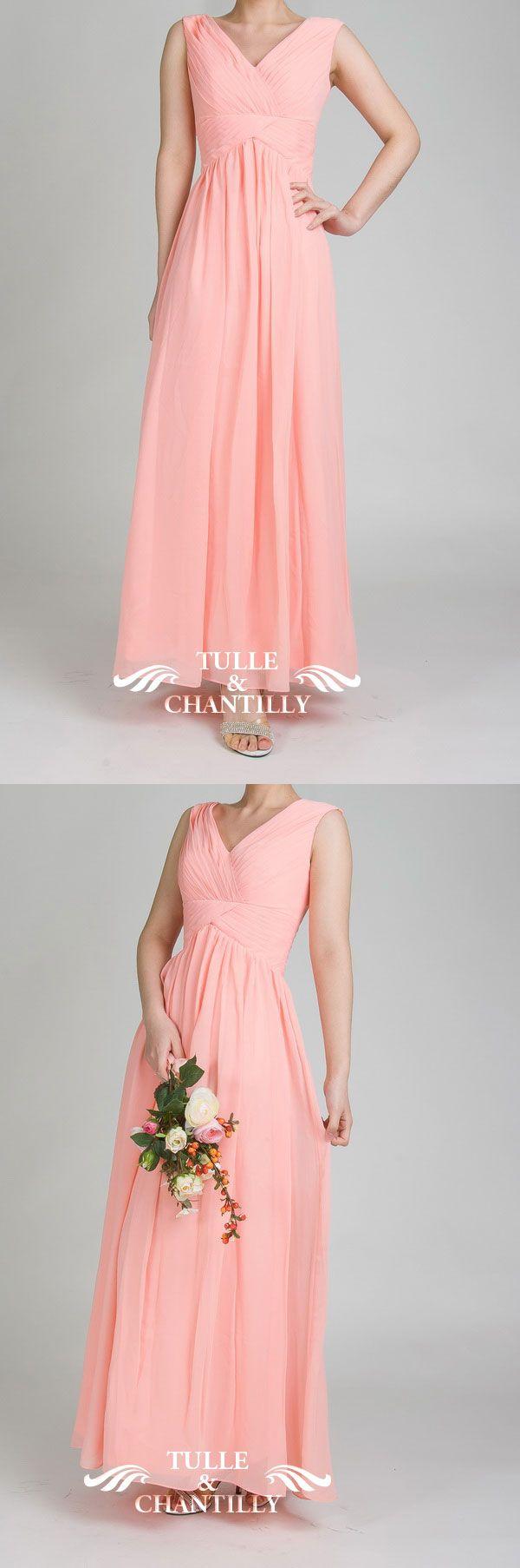 long v-neck simmon pink bridesmaid dress and wedding colors ideas 2015