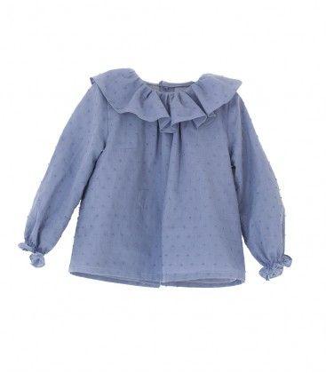 Camisa niña cuello volante plumeti azul