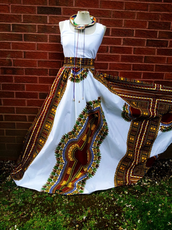 Dashiki+Maxi+Skirt/Dress+by+ZuwaReBespoke+on+Etsy,+£55.00