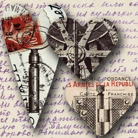 Heart shaped #steampunk #printables made from Victorian-era postcards, scans of clock gears, and totally awesome vintage steam engine blueprints. #valentines 695 by piddix.