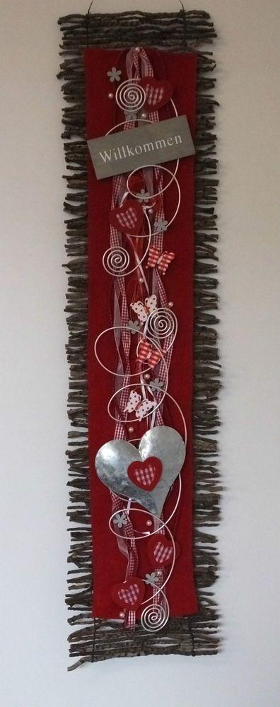 Holz-Deko-Blüten und Schmetterlingen, Filz. Perlen und Schmuckdraht. in rot-natur . Kann als Türschmuck oder als Wandbehang verwendet werden. mit Metall-Herz. | eBay!