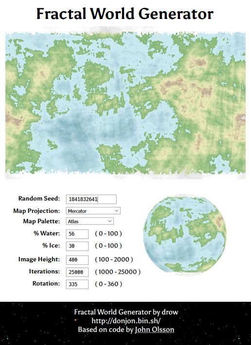 Creating a fictional planet? Try the Fractal World Generator