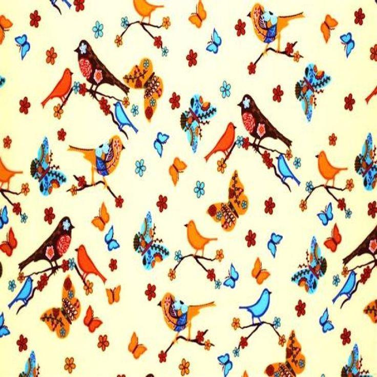Tissu Enfant – Oiseau Dur Brindille Beige Brun