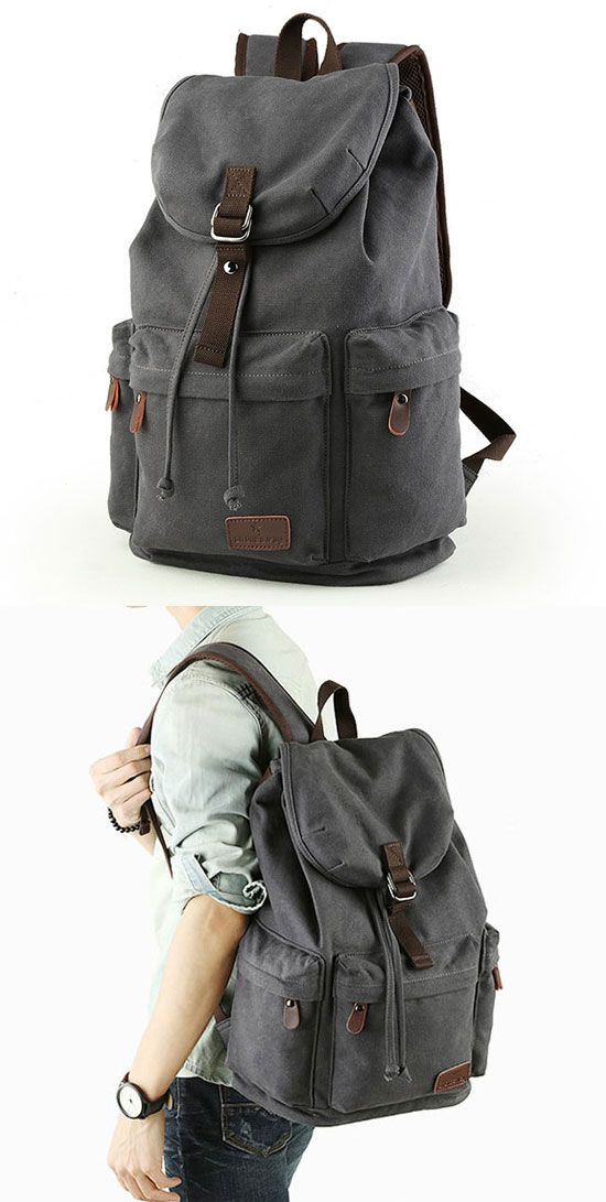 Retro Large Capacity Rucksack With USB Interface Flap Camping Travel Canvas Backpack is a choice for you. #backpack #large #rucksack #retro #school  #college