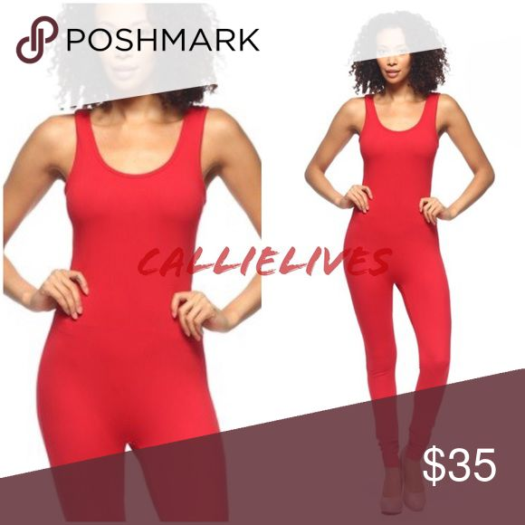 """Red Catsuit Romper Jumper Jumpsuit Red Catsuit Romper Jumper Jumpsuit   Approx Small Measurements when laid flat Armpit to armpit 14"""" Waist 11.5"""" Hips 15.5"""" Length 54"""" Inseam 30""""  Approx Medium Measurements when laid flat Armpit to armpit 15"""" Waist 12"""" Hips 16"""" Length 54"""" Inseam 30""""  Approx Large Measurements when laid flat Armpit to armpit 16"""" Waist 12.5"""" Hips 17"""" Length 55"""" Inseam 28.5""""  I also sell crop top, shorts, brushed 3D leggings, skinny pants, Bling hats & tees, Analili…"""