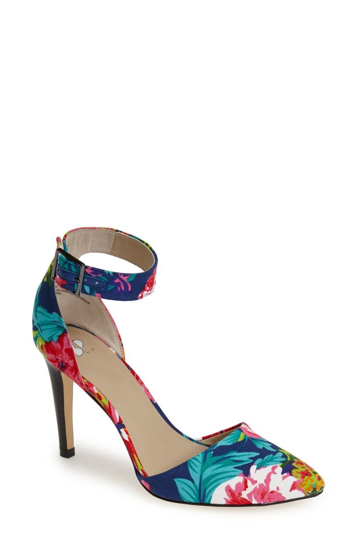 These tropical floral print ankle strap pumps look good with jeans and a tank.