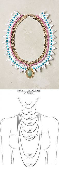 Длина ожерелья, бус, цепочки.Как будет выглядеть та или иная длина украшения. Например, если вы решили сделать украшение сами или купить его через интернет.