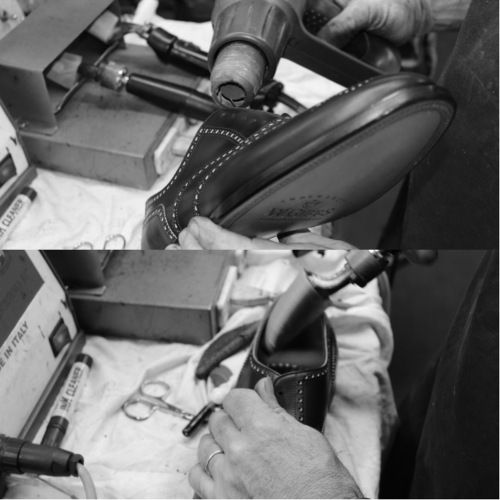 The lining is stretched with an iron. #franceschetti handmade shoes Made in Italy