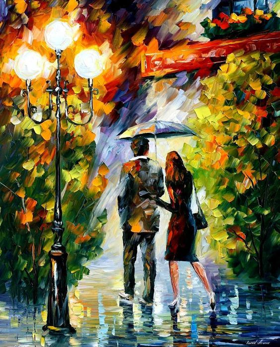 Under My Umbrella — PALETTE KNIFE Oil Painting On Canvas By Leonid Afremov